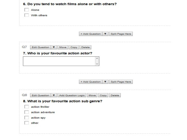 Screen Shot Of Our Survey.