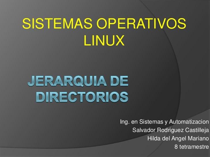 SISTEMAS OPERATIVOS       LINUX           Ing. en Sistemas y Automatizacion                Salvador Rodriguez Castilleja  ...