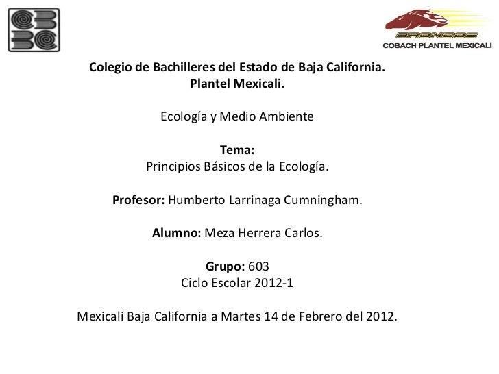 Colegio de Bachilleres del Estado de Baja California.                    Plantel Mexicali.              Ecología y Medio A...