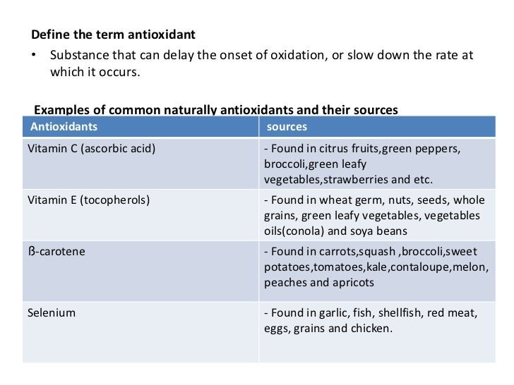Define the term antioxidant• Substance that can delay the onset of oxidation, or slow down the rate at   which it occurs. ...