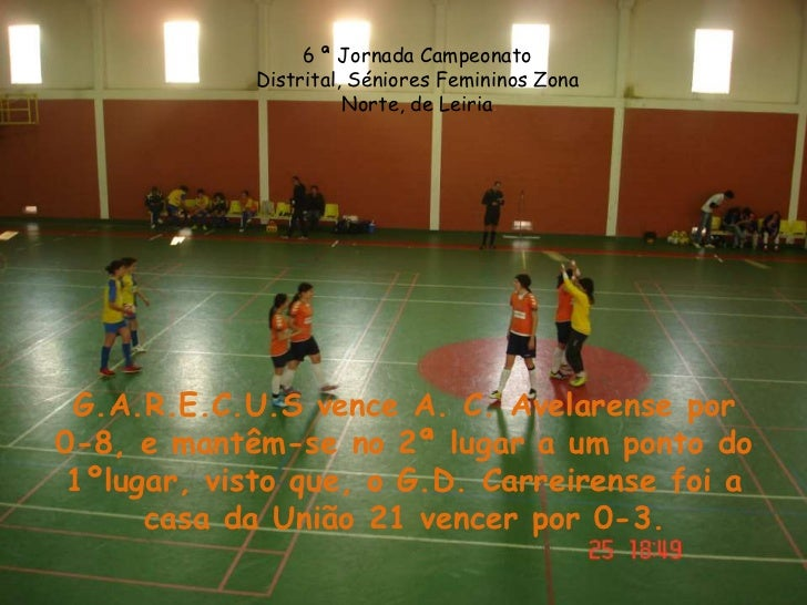 6 ª Jornada Campeonato            Distrital, Séniores Femininos Zona                      Norte, de Leiria G.A.R.E.C.U.S v...