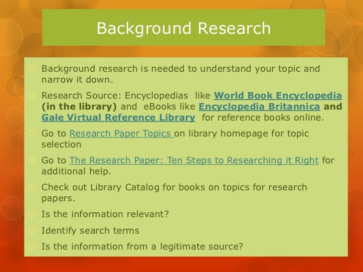 steps in doing a library research