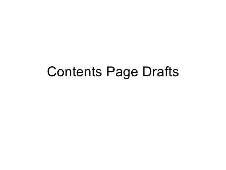 Contents Page Drafts