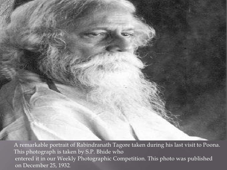 A remarkable portrait of Rabindranath Tagore taken during his last visit to Poona.This photograph is taken by S.P. Bhide w...