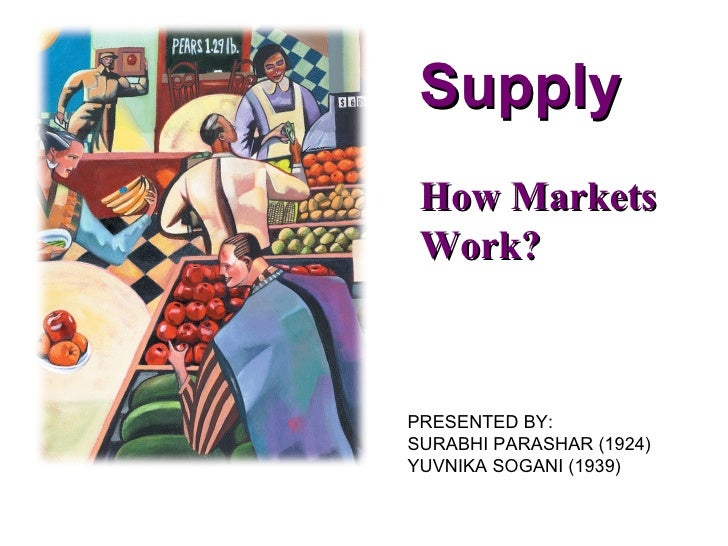 Supply How Markets Work?PRESENTED BY:SURABHI PARASHAR (1924)YUVNIKA SOGANI (1939)
