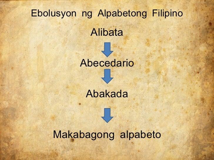 ang baybayin at dating alpabetong filipino Ebolusyon ng alpabetong filipino list of loanwords in tagalog topic old tagalog (filipino: lumang tagalog baybayin:.