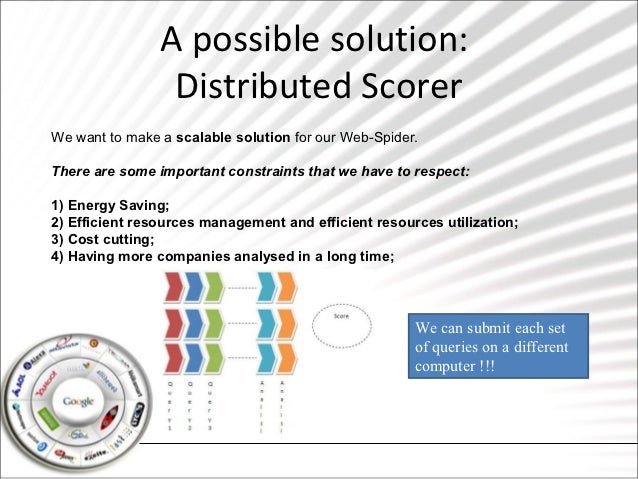 A possible solution:                 Distributed ScorerWe want to make a scalable solution for our Web-Spider.There are so...