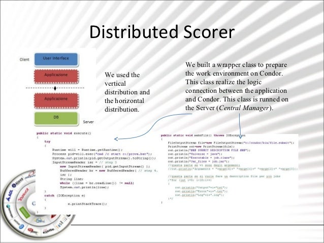 Distributed Scorer                    We built a wrapper class to prepare We used the        the work environment on Condo...