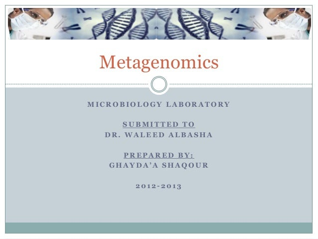 MetagenomicsMICROBIOLOGY LABORATORY      SUBMITTED TO  DR. WALEED ALBASHA     PREPARED BY:   GHAYDA'A SHAQOUR       2012-2...