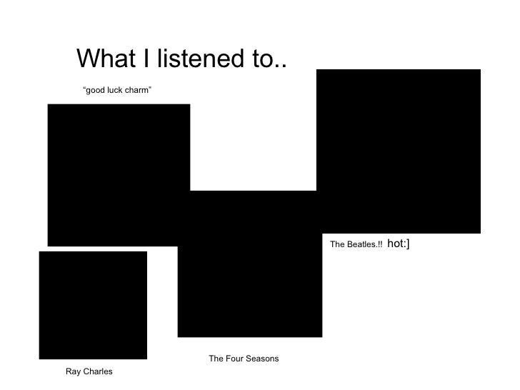 """What I listened to.. """" good luck charm"""" The Beatles.!!   hot:] The Four Seasons Ray Charles"""