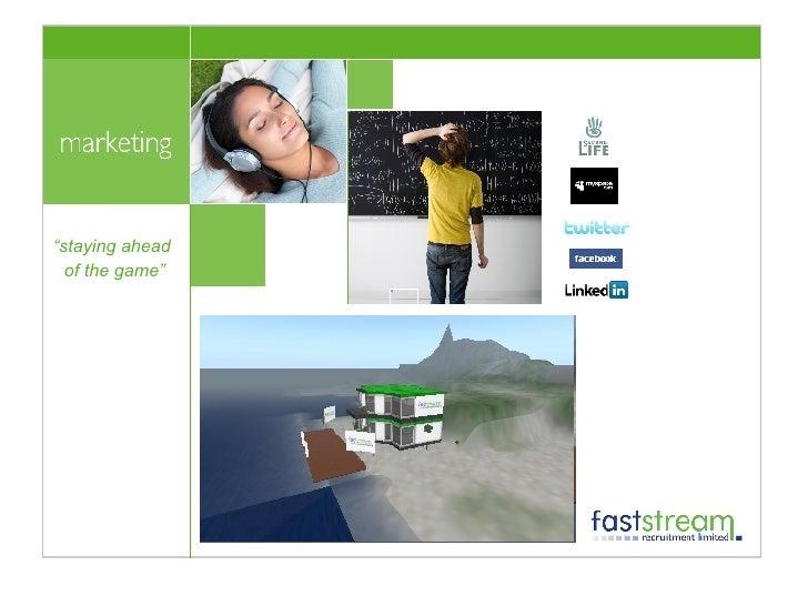 """"""" staying ahead  of the game"""" <ul><li>Viral Marketing </li></ul><ul><li>Web 2.0  </li></ul><ul><li>Website V3 </li></ul><u..."""