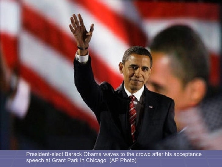 President-elect Barack Obama waves to the crowd after his acceptance speech at Grant Park in Chicago. (AP Photo)