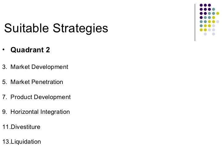 Suitable Strategies <ul><li>Quadrant 2 </li></ul><ul><li>Market Development </li></ul><ul><li>Market Penetration </li></ul...