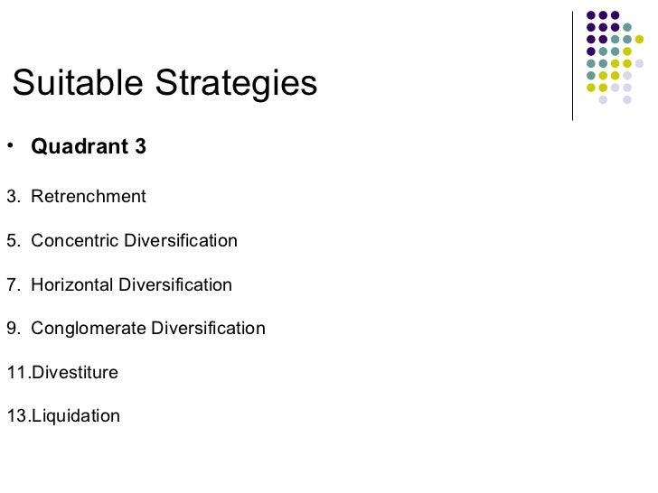 Suitable Strategies <ul><li>Quadrant 3 </li></ul><ul><li>Retrenchment </li></ul><ul><li>Concentric Diversification </li></...