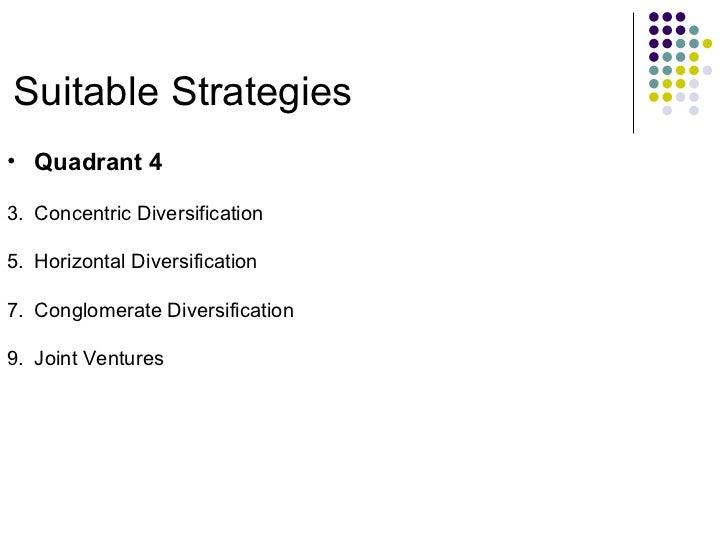 Suitable Strategies <ul><li>Quadrant 4 </li></ul><ul><li>Concentric Diversification </li></ul><ul><li>Horizontal Diversifi...