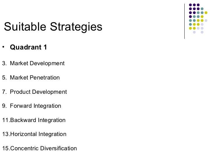 Suitable Strategies <ul><li>Quadrant 1 </li></ul><ul><li>Market Development </li></ul><ul><li>Market Penetration </li></ul...