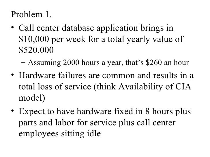 <ul><li>Problem 1.  </li></ul><ul><li>Call center database application brings in $10,000 per week for a total yearly value...