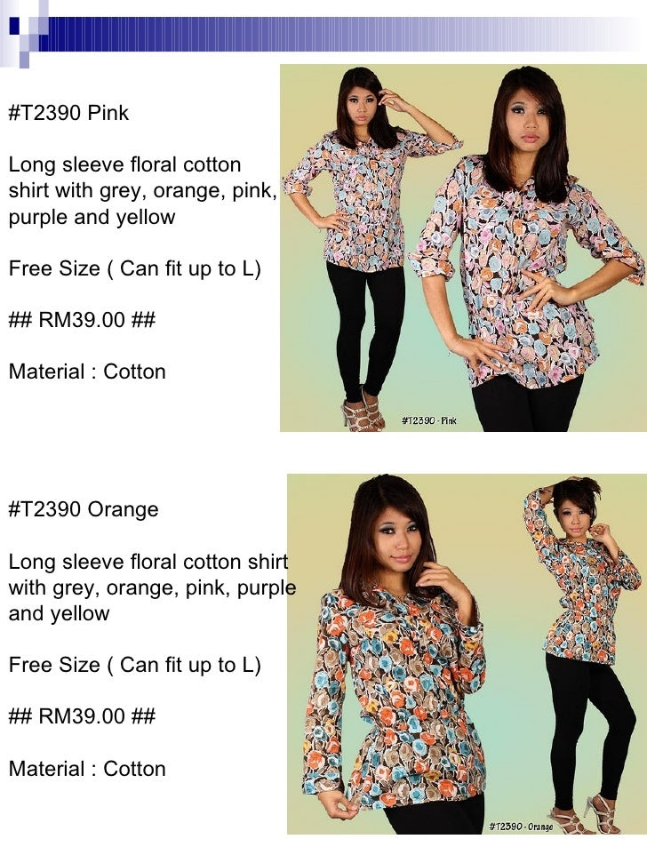 #T2390 Orange Long sleeve floral cotton shirt with grey, orange, pink, purple and yellow Free Size ( Can fit up to L) ## R...