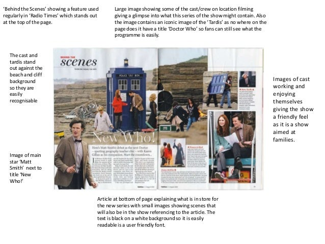 'Behind the Scenes' showing a feature used        Large image showing some of the cast/crew on location filmingregularly i...