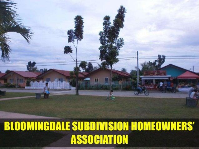 BLOOMINGDALE SUBDIVISION HOMEOWNERS'            ASSOCIATION