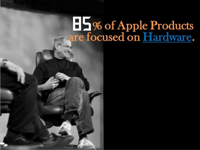 """85 % of Apple Productsare focused on Hardware.""""We're just enthusiastic about        what we do"""""""
