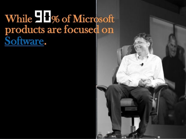 """While   90% of Microsoftproducts are focused onSoftware.""""  People everywhere love        Windows."""""""