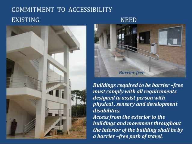 COMMITMENT TO ACCESSIBILITYNEEDEXISTINGBuildings required to be barrier –freemust comply with all requirementsdesigned to ...