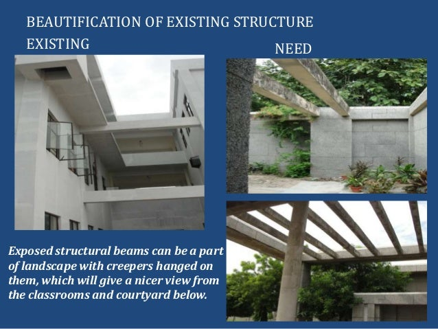EXISTINGBEAUTIFICATION OF EXISTING STRUCTURENEEDExposed structural beams can be a partof landscape with creepers hanged on...