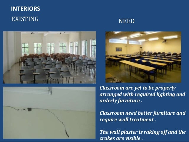 INTERIORSEXISTING NEEDClassroom are yet to be properlyarranged with required lighting andorderly furniture .Classroom need...