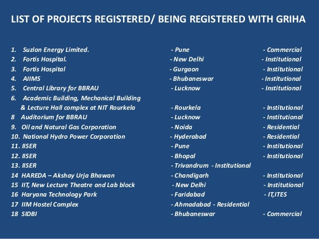 LIST OF PROJECTS REGISTERED/ BEING REGISTERED WITH GRIHA1. Suzlon Energy Limited. - Pune - Commercial2. Fortis Hospital. -...