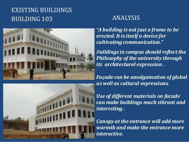 """EXISTING BUILDINGSBUILDING 103 ANALYSIS""""A building is not just a frame to beerected. It is itself a device forcultivating ..."""