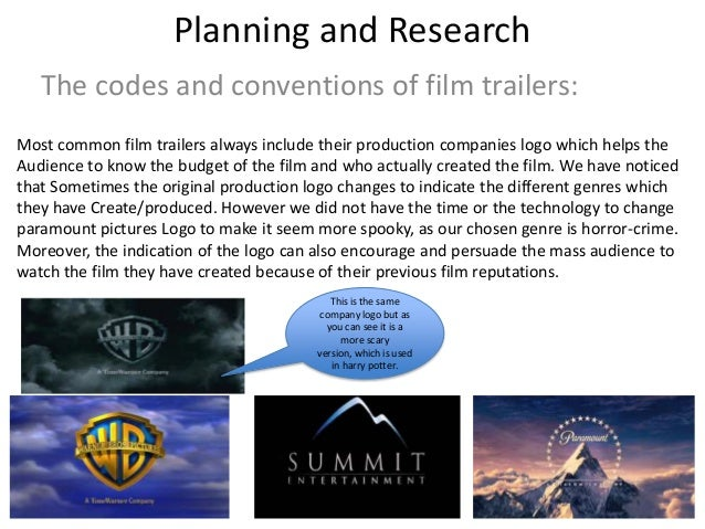 Planning and ResearchThe codes and conventions of film trailers:Most common film trailers always include their production ...