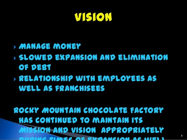 strategy of rocky mountain chocolate facter About rocky mountain chocolate factory inc rocky mountain chocolate factory, inc is a franchisor, confectionery manufacturer and retail operator in the united states, canada, philippines, japan .