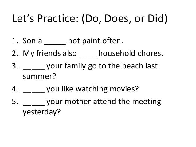 Use Of Do Does And Did on Practice Letter N