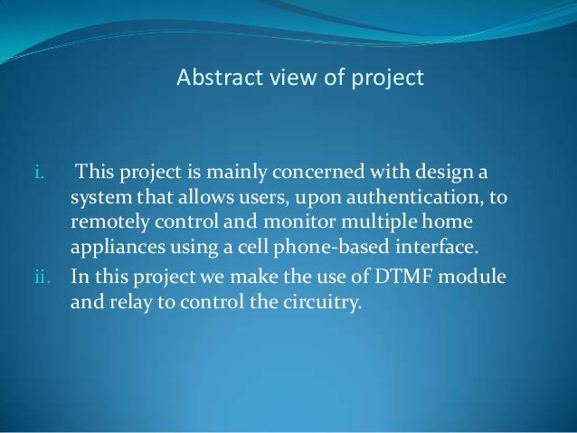 Mobile home automation project by using dtmf