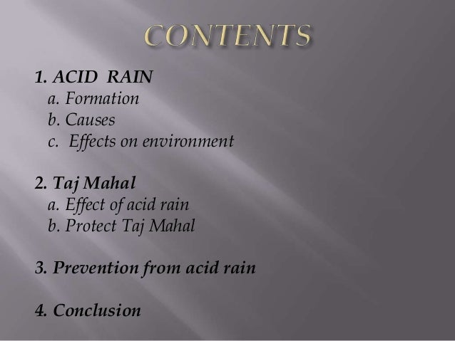 effect of acid rain on taj mahal