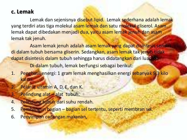 Nutrisi (Karbohidrat, lemak, Protein, Vitamin, Mineral, Air)