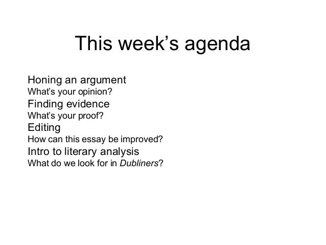 This week's agenda Honing an argument What's your opinion?  Finding evidence What's your proof?  Editing How can this essa...