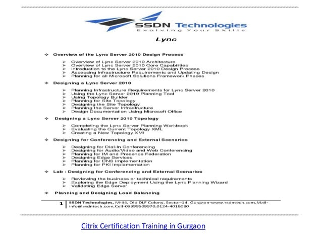 Citrix Certification Training in Gurgaon