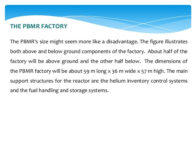 THE PBMR FACTORY The PBMR's size might seem more like a disadvantage. The figure illustrates  both above and below ground ...