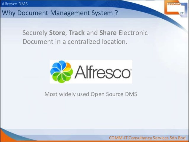 Alfresco DMS  Why Document Management System ? Securely Store, Track and Share Electronic Document in a centralized locati...
