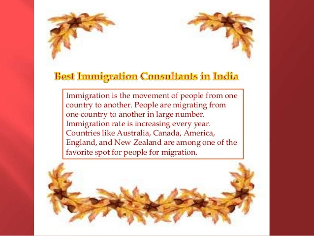 Immigration is the movement of people from one country to another. People are migrating from one country to another in lar...