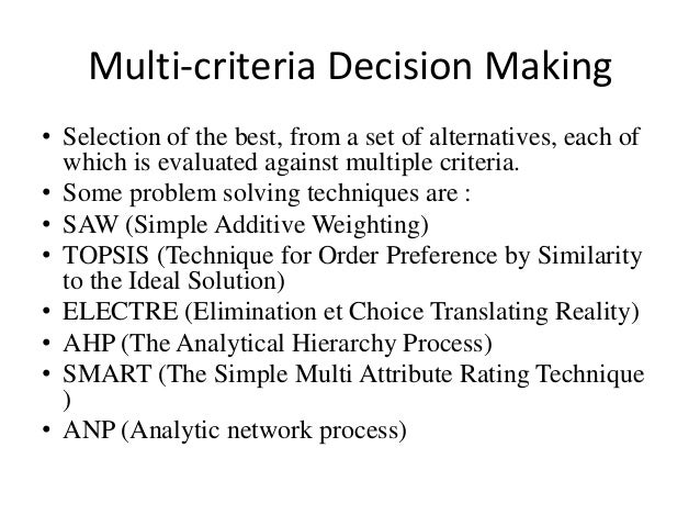 Multiple-criteria decision analysis