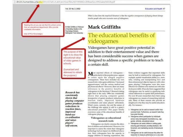 Credit Goes to: • Mark Griffiths, November 3, 2002, Education and heath, http://dh101.humanities.ucla.edu/DH101Fall12L ab4...