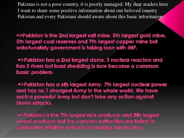 Pakistan Is Not A Poor Countryit Is Poorly Managed - World no 1 poor country