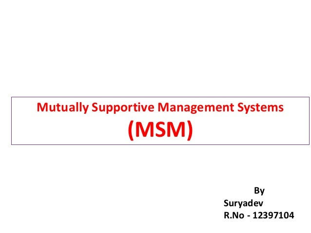 Mutually Supportive Management Systems (MSM) By Suryadev R.No - 12397104