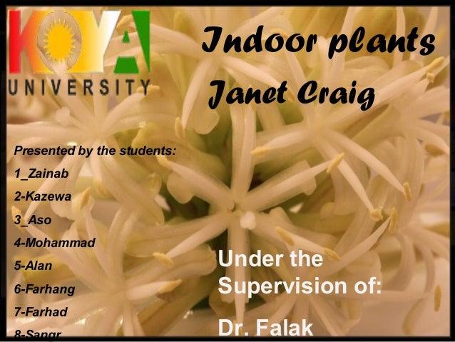 Janet Craig Indoor plants Presented by the students: 1_Zainab 2-Kazewa 3_Aso 4-Mohammad 5-Alan 6-Farhang 7-Farhad 8-Sangr ...