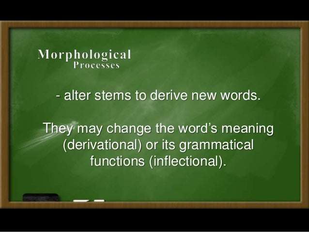 morphological processes Morphology, in linguistics the process of forming nouns in -ing from verbs (as in fred's lonely musings about love) can take virtually any verb as its basis, despite being intuitively a means of crating new words morphological theory.
