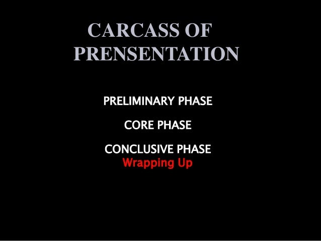 CARCASS OF  PRENSENTATION  PRELIMINARY PHASE  CORE PHASE  CONCLUSIVE PHASE  Wrapping Up