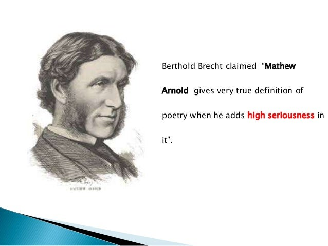 Matthew Arnold (1822-1888), one of the greatest Victorian  poet and critic, was 'the first modern critic', and could be  c...
